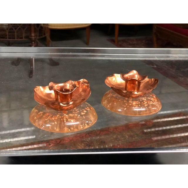 Art Nouveau Pair of Copper and Lucite Candle Holders For Sale - Image 3 of 7
