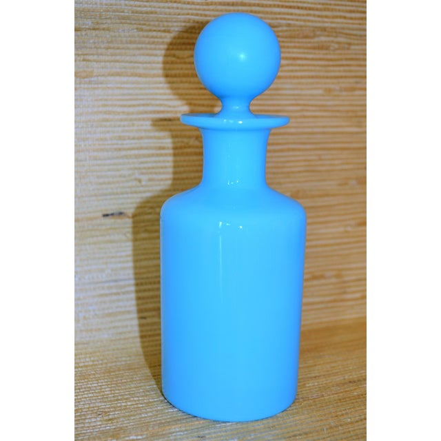 Glass 1940's Antique Portieux Vallerysthal Blue Opaline Perfume Bottle For Sale - Image 7 of 8