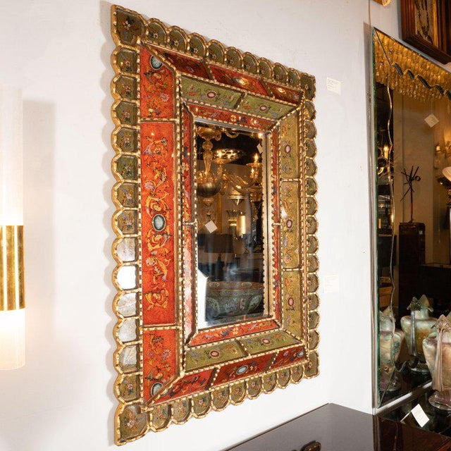 Wood Mid-Century Modern Graphic Gilded Reverse Églomisé Hand-Painted Venetian Mirror For Sale - Image 7 of 9