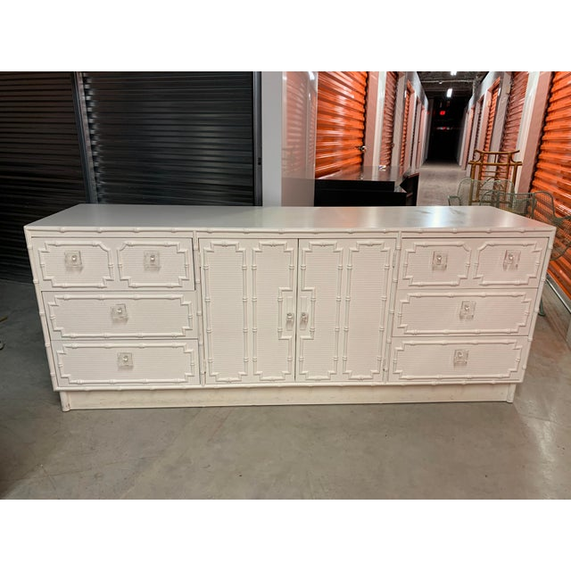 Faux Bamboo Dresser With Lucite Knobs For Sale - Image 12 of 12