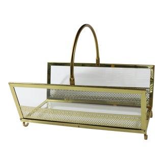 Vintage 60s Mid Century Modern MCM Brass Gold Glass Firewood Magazine Holder For Sale