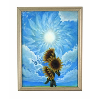 2004 David Combs Surrealist Sunflowers Oil Painting For Sale