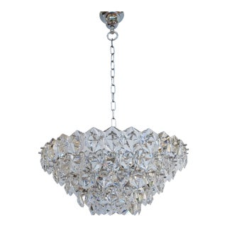 1960s Mid-Century Glass and Crystal Chandelier by Kinkeldey For Sale