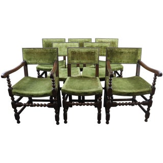 Dining Chairs Renaissance Green Oak Wood - Set of 8 For Sale
