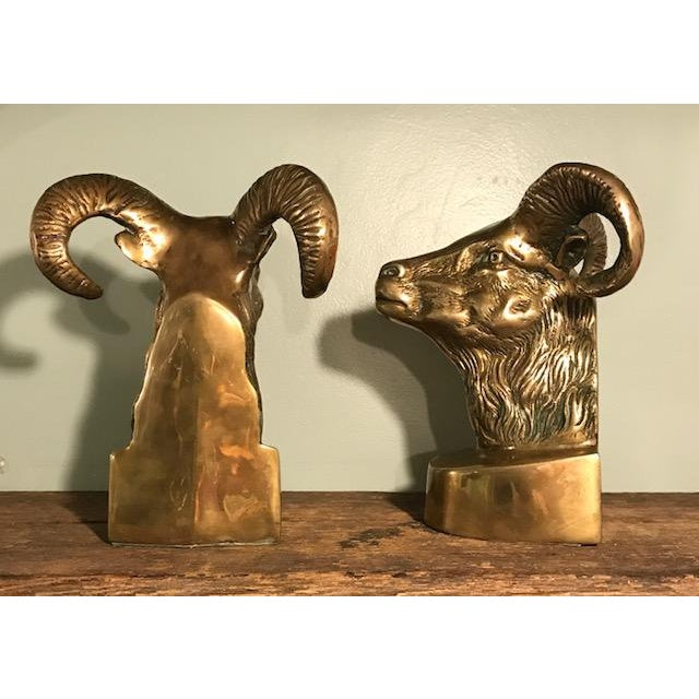 Vintage Brass Rams Head Bookends - Image 4 of 7