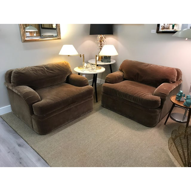 Thayer Coggin Oversized Mohair Club Chairs - Milo Baughman Style - a Pair - Image 4 of 11