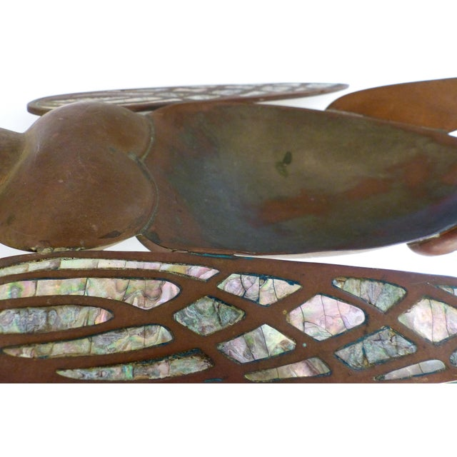 Los Castillo Brass, Copper & Abalone Grasshopper Dish attrib. Salvador Teran For Sale In Miami - Image 6 of 10