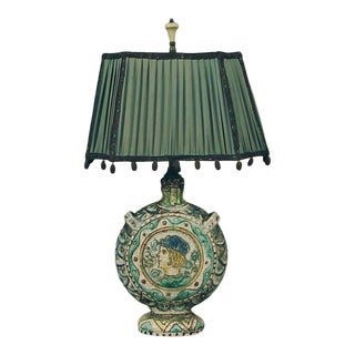 Antique Italian Art Deco Period Pottery Lamp With French Shade For Sale