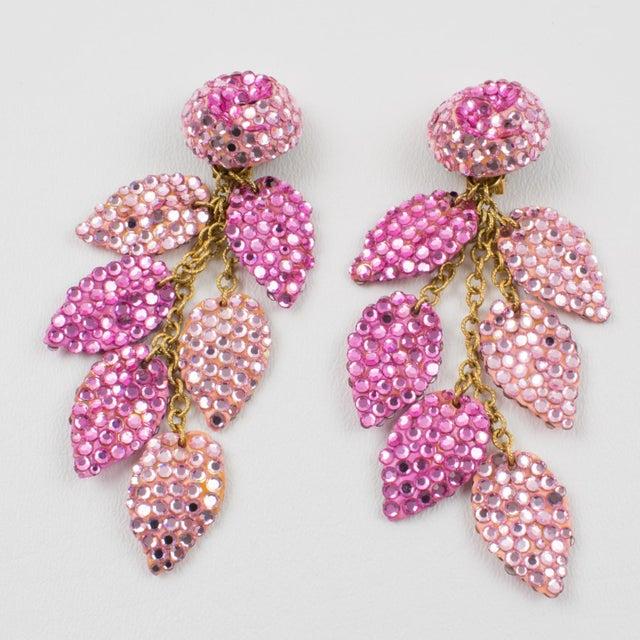Richard Kerr Richard Kerr Oversized Dangle Pink Jeweled Clip Earrings For Sale - Image 4 of 8