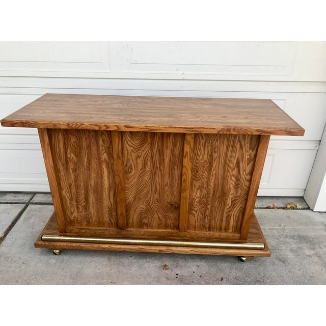 Vintage 1960s Rolling Dry Bar with Tambour Doors - Image 7 of 9