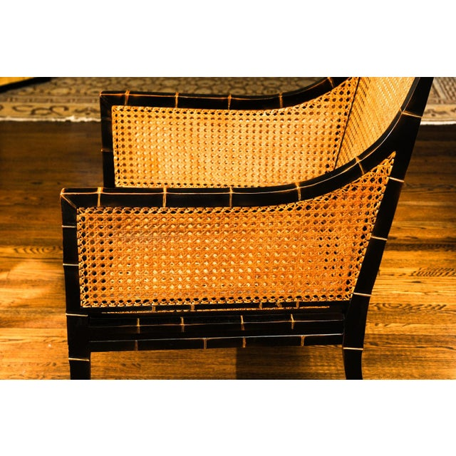 Wood Beautiful Restored Pair of Large-Scale Double-Sided Cane Club Chairs For Sale - Image 7 of 9