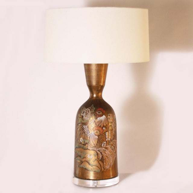 Gold Marbro Styled Lamp With Hand Painted Rooster, C. 1960 For Sale In Dallas - Image 6 of 6