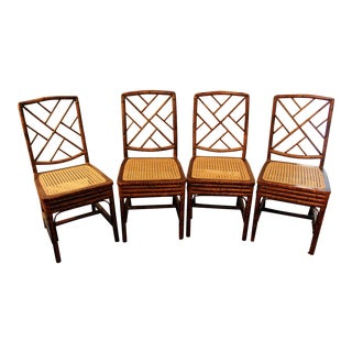 Early 19th Century Chinese Chippendale Bamboo Side Chairs - Set of 4 For Sale