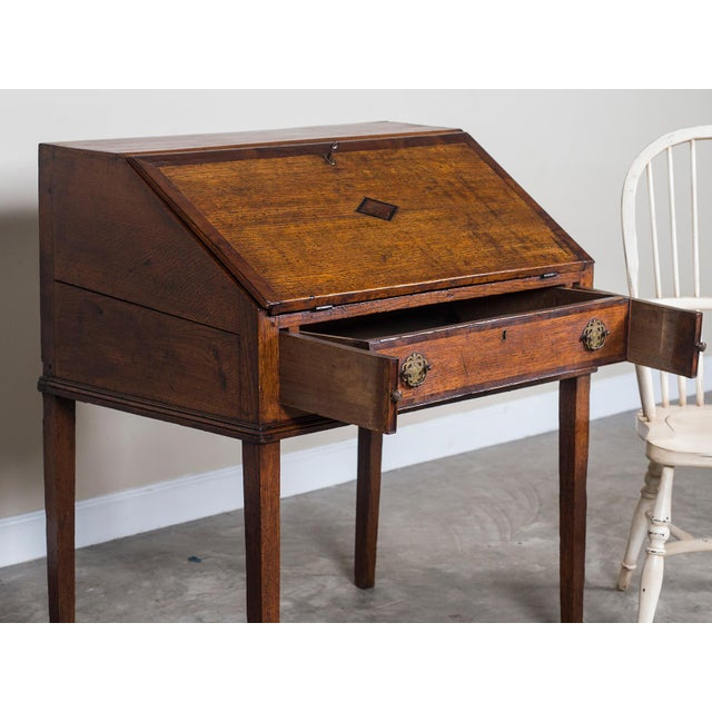 Antique English George III Period Oak Slant Front Desk circa 1760 For Sale In Houston - Image 6 of 10