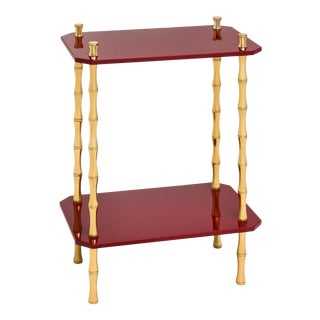 KRB New York Collection Freddie Table Brass in Bordeaux Red / Brass For Sale