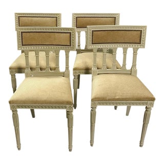 Set of 4 Antique Swedish Neoclassical Painted Chairs For Sale