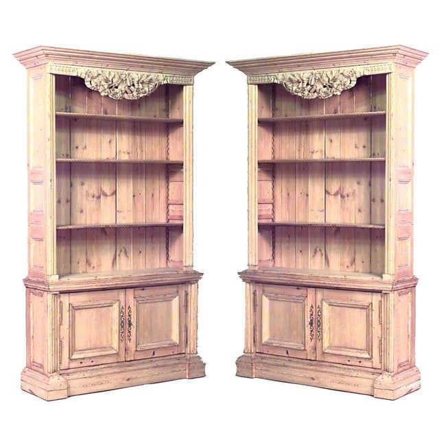 Late 19th Century Pair of Turn of the Century English Country Stripped Pine Bookcase Cabinets For Sale - Image 5 of 5