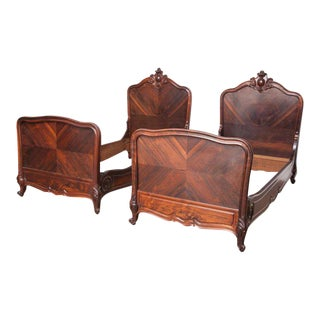 1900s Louis XV Rosewood Single Beds - a Pair For Sale