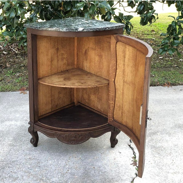 Antique French Louis XV Marble Top Corner Cabinet ~ Confiturier For Sale - Image 10 of 11