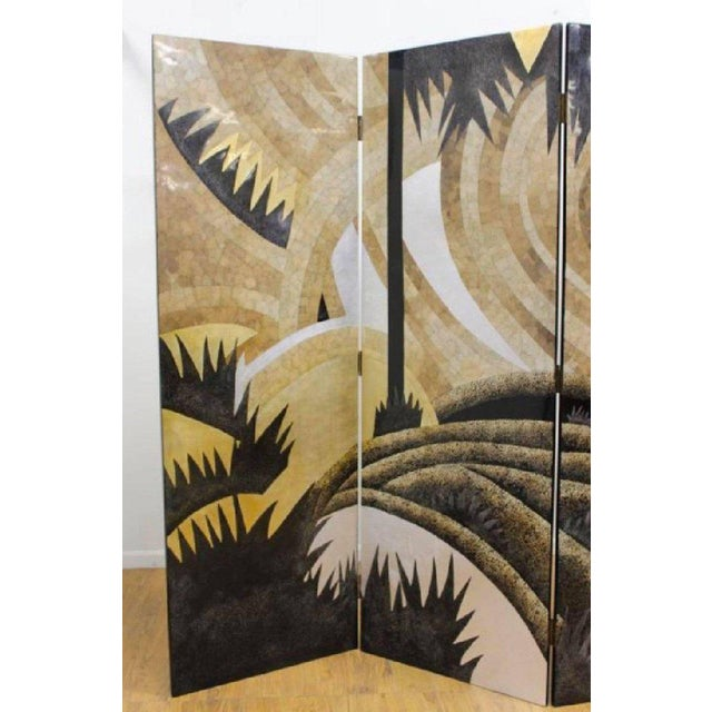 Art Deco Art Deco Style Egg Shell Lacquer Three-Panel Screen in the Manner of Jean Dunand For Sale - Image 3 of 7