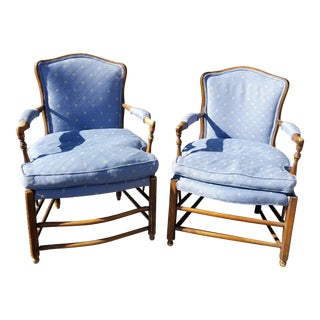 Vintage French Country Style Blue Down Cushion Accent Chairs - A Pair