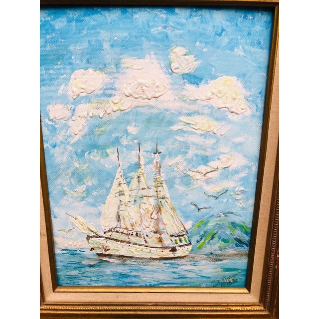 Vintage Sailboat Ocean 3d Art Painting Signed in Antique Gold Frame For Sale - Image 11 of 13