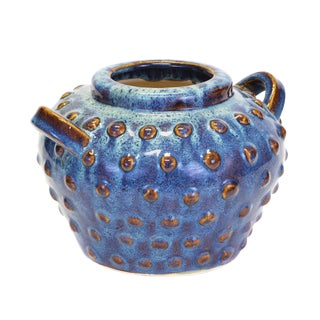 Contemporary Hand-Painted Blue and Brown Pottery Vase