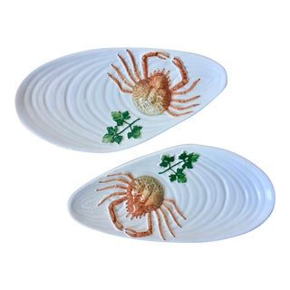 2 Italian Faience Shell Plates-Crab & Parsley Design For Sale