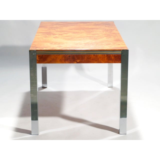 1970s Willy Rizzo Burl Chrome Brass Dining Table, 1970s For Sale - Image 5 of 11