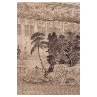 Great China Hand Painted Chinoiserie Panel For Sale