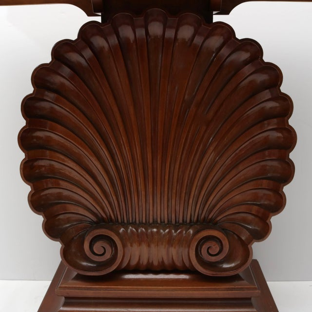 Hollywood Regency Shell Motif Mahogany Console Table by Edward Wormley for Dunbar Furniture For Sale - Image 3 of 10