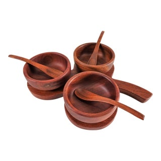 Boho Chic Teak Condiment Serving Bowls With Tray - 7 Piece Set For Sale