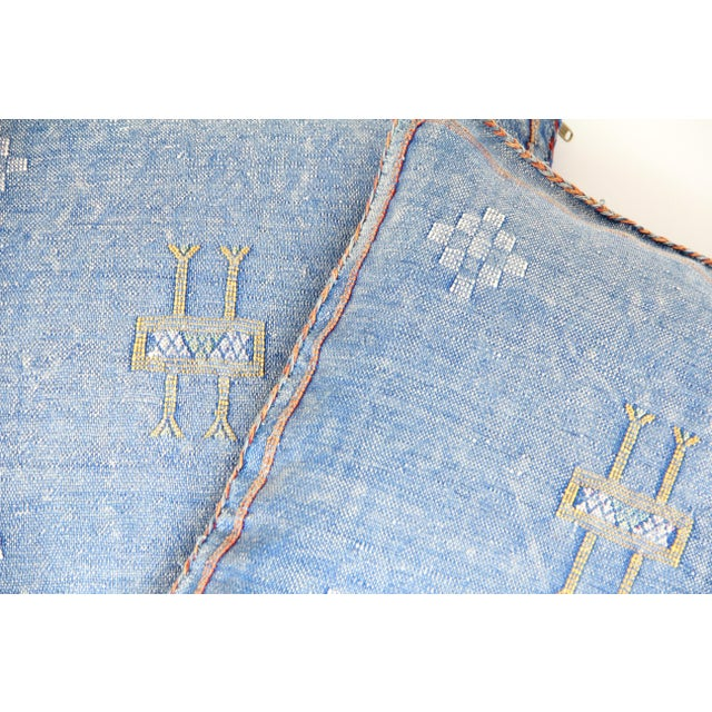 Blue & Yellow Moroccan Cactus Pillows - A Pair - Image 3 of 7