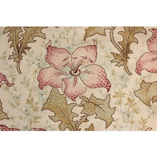 Fabric Antique French 1895 Printed Cotton Belle Epoque Floral Design Material For Sale