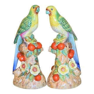 1980s Vintage Green Majolica Parakeets Figurines - a Pair For Sale