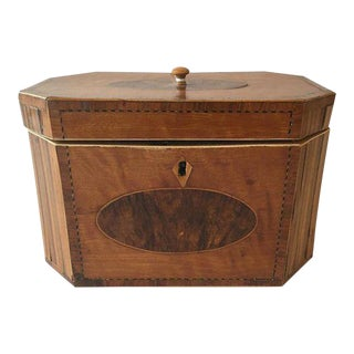 Inlaid Satinwood Tea Caddy For Sale