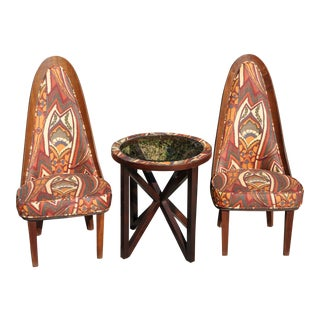 1960s Vintage Chet Beardsley Mod Designer Arch Back Side Chairs & Table- 3 Pieces For Sale