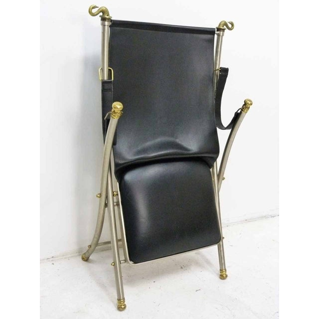 Jansen Style Leather & Brass Campaign Chair - Image 10 of 10