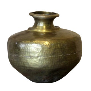 Hand-Hammered Brass Water Vessel For Sale