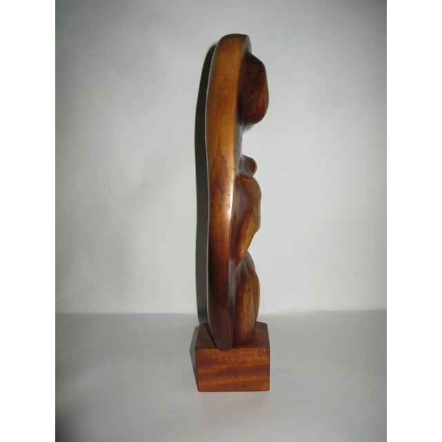Mid-Century Modern 1960s Mother and Child Wood Abstract Carving For Sale - Image 3 of 10