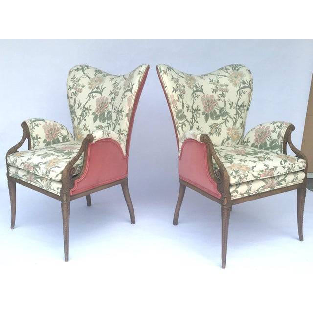 Carved French Hollywood Regency Style Butterfly Wing Chairs For Sale - Image 4 of 10