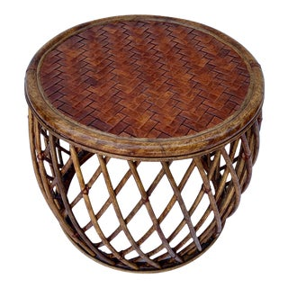 Vintage Boho Chic Round Bamboo Leather Woven Top Table For Sale