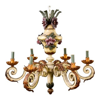 French Hand Painted White and Gilt Metal Chandelier With Floral Leaf Motif For Sale