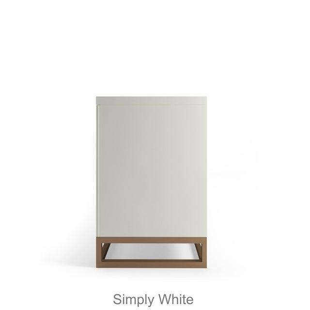 Contemporary Stria Credenza - Brushed Brass Base, Summer Mist Blue For Sale - Image 3 of 5
