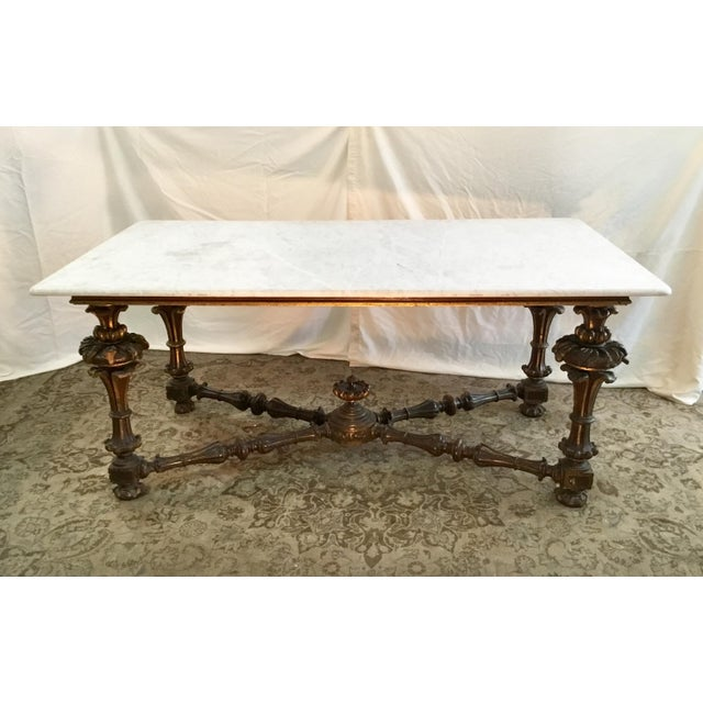 19th Century French Carved & Polychrome Table Base With Carrara Marble Top For Sale - Image 13 of 13