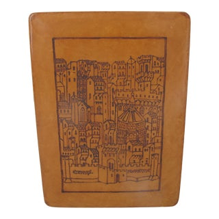 Giulio Giannini Firenze Tooled City Scene on Leather Over Wood Writing Box For Sale