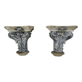 Pair of French Painted Corbels, Circa 1940s For Sale