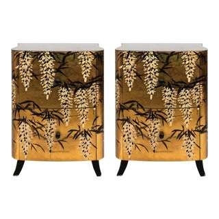 Pair of Gold Lacquered Chinese Chests For Sale