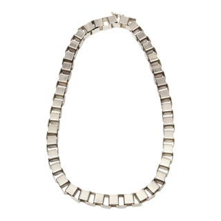Sterling Silver Interlocking Geometric Cube Necklace Vintage For Sale