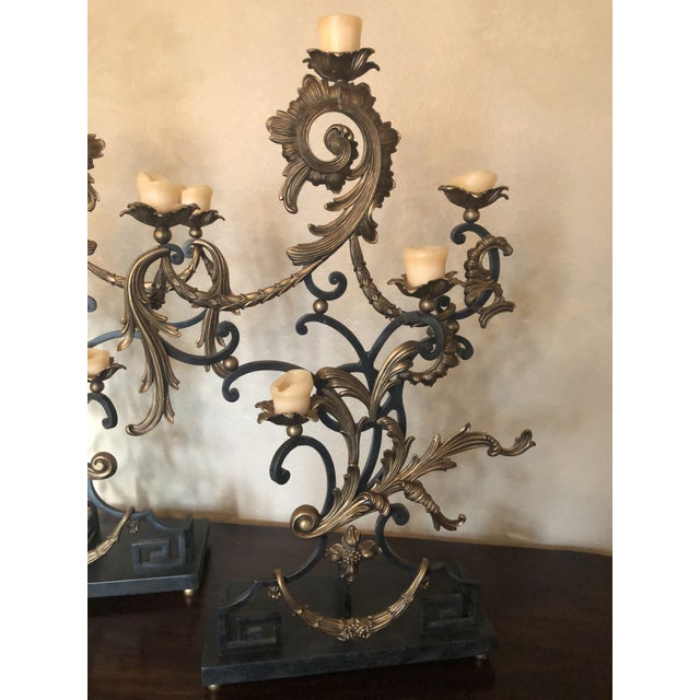 18th Century Rococo Style Iron and Brass Candle Holders by Theodore Alexander - a Pair For Sale - Image 11 of 13